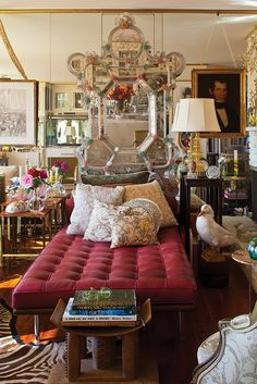 Fortuny Interiors - Ashanti stool, Mies daybed, Venetian mirror, Fortuny pillows