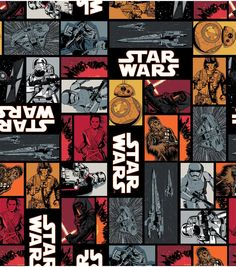 Star Wars VII Characters In Squares Cotton Fabric