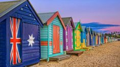 Bathing boxes line the beach at Brighton, Victoria, Australia (© J C Mitchell/Getty Images)(Bing Canada)
