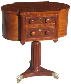 A Classical Carved Mahogany Astragal Work Table; Baltimore, C.1825; The  Central