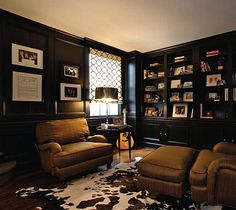 love the animal skin. this appears to be Taylor Swifts house. good move Taylor puttin a mancave in your home. could I get away with black walls? love how the animal skin brings the black and brown together Masculine Room, Masculine Interior, Taylor Swift House, Home Office Design, House Design, Design Design, Design Ideas, Classy Man Cave, Best Man Caves