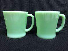 Vintage Set 2 Fire King Jadeite D Handle Mugs Cups Jade Green