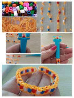 perler bead rainbow loom bracelet..haven't seen this design done this way before.