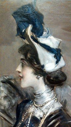 Portrait of Mlle L C  ~ Giovanni Boldini ~  (Italian1842-1931)  (detail)