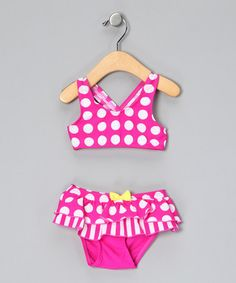 Take a look at this Pink Polka Dot Frill Skirted Bikini - Infant, Toddler & Girls by Cupid Girl on #zulily today!