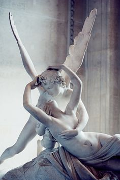Antonio Canova – Psyche Revived by Cupid's Kiss (detail), Louvre museum, Paris, France. First commissioned in 1787, it is regarded as a masterpiece of Neoclassical and Romantic sculpture. It represents the god Cupid in the height of love and tenderness, immediately after awakening the lifeless Psyche with a kiss.