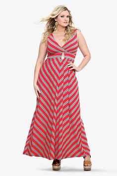I need this dress!! Red and grey mitered stripes deliver must-wear pattern play to the effortless maxi silhouette. Front and back surplice necklines and a banded empire waist shape the care-free look.