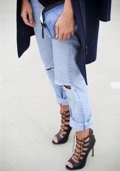 ripped boyfriend jeans + strappy heels