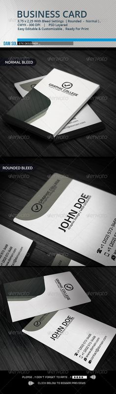 """Corporates Business Card #GraphicRiver Text font, a new and free of charge. color and font can be changed Details • Fully Editable Psd Files (fully layered files) • 3.5"""" x 2"""" (3.75"""" x 2.25"""" with bleeds + trim mark) • 300 DPI • CMYK Colors • Print Ready Files • Expression qr code. Txt file in the current Files Includes • 2 Photoshop Psd File (colors can be changed) Back & Front • 1 Readme Files Free Font Used Included With ReadMe.txt File Created: 21November12 GraphicsFilesIncluded…"""