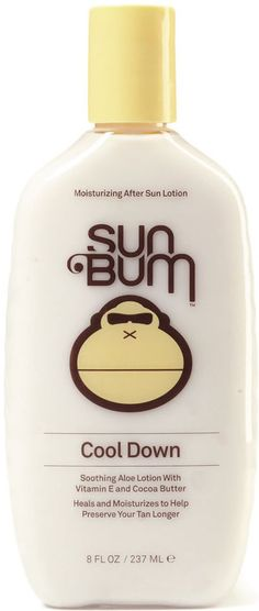 OVERVIEW After a long lazy day in the sun, your skin needs revitalization and hydration. Sun Bum's 'Cool Down' Lotion is enriched with soothing Aloe and Vitamin E, providing an intense hydration to ge