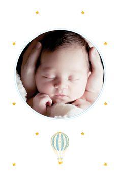 Faire-part naissance Montgolfière par Louise Pianetti pour www.fairepartnaissance.fr #fairepartnaissance #montgolfiere #birthannouncement