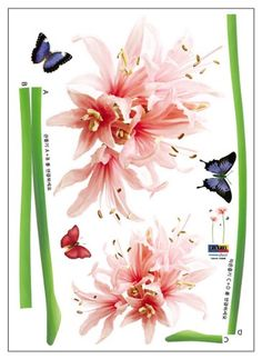 (20x28) Giant Flower Sprouts and Butterflies Wall Decal - http://decorwalldecals.com/20x28-giant-flower-sprouts-and-butterflies-wall-decal/