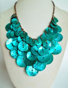 NEW  Beach Beauty  Peacock Shell BibStyle by hangingbyathread1, $70.00