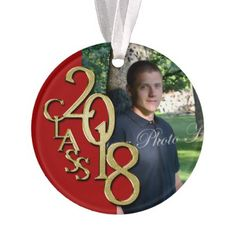 Class of 2018 Red and Gold Photo Ornament - college graduation gift idea cyo custom customize personalize special
