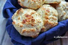 Easy low carb biscuits with 0 net carbs and only 69 calories each! Only a handful of ingredients, and less than 20 minutes to make!
