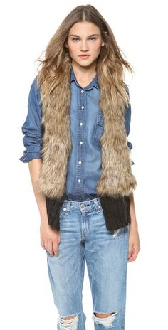 See how others are styling the Bb Dakota Perri Vest With Faux Fur Collar. Check if your friends own the product and find other recommended products to complete the look. Winter Fashion Casual, Cold Weather Fashion, Winter Outfits Women, Fall Outfits, Denim Outfits, Winter Style, Fur Fashion, Couture Fashion, Knit Vest