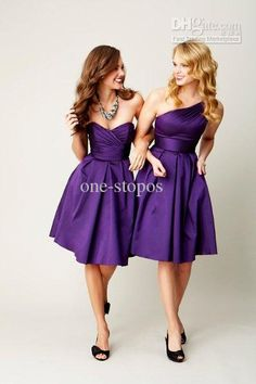 Wholesale 2013 New Hot Sale Cheap Sexy Sweetheart Purple Satin Pleated Knee Length Ruffles Bridesmaid Dresses, $69.44-89.6/Piece | DHgate
