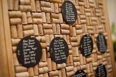 wine cork & chalkboard table plan