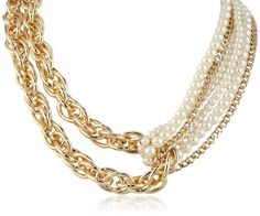 """Twisted Mixed Chain and Pearl Looped Necklace, 18"""" Amazon Curated Collection,http://www.amazon.com/dp/B00GRLA4EI/ref=cm_sw_r_pi_dp_cj3-sb1AKPASD14G"""