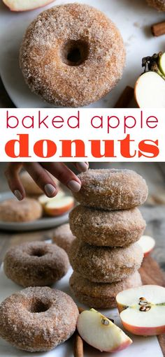 Soft pillowy inside, sweet crunchy outside, these Cinnamon Sugar Baked Apple Donuts are easy and delicious for breakfast or dessert! Apple Desserts, Köstliche Desserts, Apple Recipes, Fall Recipes, Baking Recipes, Delicious Desserts, Dessert Recipes, Yummy Food, Summer Snack Recipes