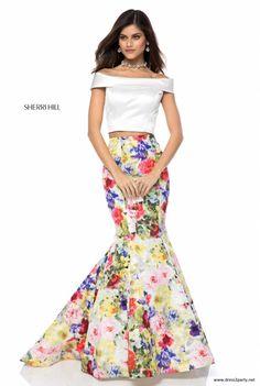 c0fd6b4f4a25 Open Back Sherri Hill Satin Stylish Prom Dress 52005 Printed Mermaid Skirt