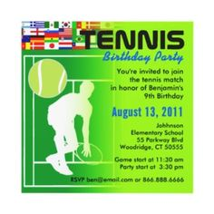Image detail for -Tennis Birthday Party Invitation invitation