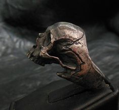 Skull ring Standard decayed half jaw silver mens by Bakogiorgis
