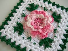 Crochet Potholder in Thread with Rose Flower in Shaded Pink --- New in Vintage Style | Flickr - Photo Sharing!