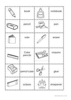 School supplies domino