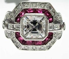 Beverley K Art Deco-inspired diamond ring with radiant ruby accents, available by special order at Greenwich Jewelers