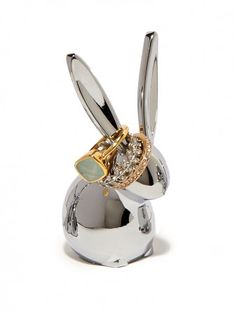 stash your stacks of rings on the long ears of our rabbit ring tree