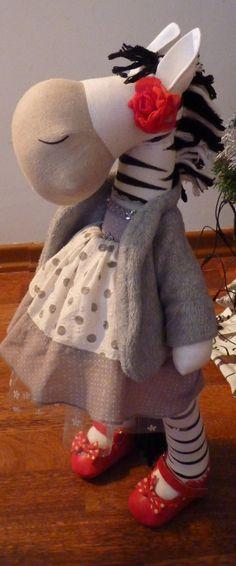 Handmade art doll Fancy horses and zebra  OOAK Best for you. $75.00, via Etsy.