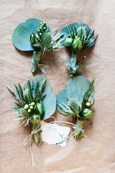 Unique green boutonnieres: http://www.stylemepretty.com/2014/10/07/modern-terrain-glen-mills-wedding/ | Photography: The More We See - http://www.themorewesee.com/
