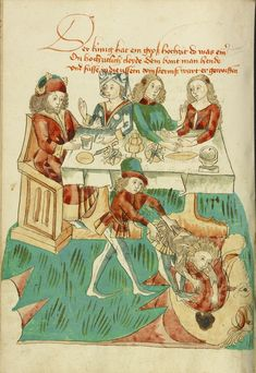 A Royal Wedding Feast; An Unsuitably Dressed Guest Cast into Darkness; Follower of Hans Schilling (German, active 1459 - 1467), from the Workshop of Diebold Lauber (German, active 1427 - 1467); Hagenau, Alsace, France (formerly Germany); 1469; Ink, colored washes, and tempera colors on paper; Leaf: 28.6 x 20.3 cm (11 1/4 x 8 in.); Ms. Ludwig XV 9, fol. 88v