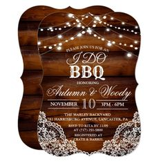 Shop Rustic I DO BBQ Wood Invitation created by PaperandPomp. Wood Invitation, Custom Invitations, Invite, Backyard Bbq Outfit Ideas, Barbeque Wedding, Backyard Barbeque, Rustic Backyard, Barbecue, Bbq Outfits