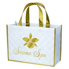 """This custom laminated quilted bag is made from 220g non-woven PP with OPP lamination. Matte finish. 13"""" x 10"""" x 5"""". Metallic gold laminated handles and piping. 3-layer ultrasonic production, metallic gold ink printing. Reusable, recyclable, eco-friendly. Great for any promotional use!"""