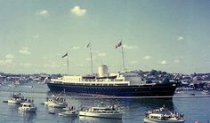Royal Yacht 'Britannia' in Brisbane River, 1963 Navy Times, Brisbane River, Naval History, Great Pictures, British Royals, Yachts, Luxury Travel, Seattle Skyline, Boats
