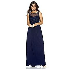 Get ready for your next big occasion in our stunning navy maxi dress. Featuring embroidery and chic embellished detailing- pair with heels and accessories for a glam look. Prom Dresses, Formal Dresses, Debenhams, Chiffon, Bridesmaid, Navy, Chic, Fashion, Dresses For Formal