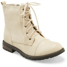 Aeropostale Short Combat Boot ($25) ❤ liked on Polyvore featuring shoes, boots, ankle booties, botas, army boots, combat boots, short heel boots, short booties and short combat boots