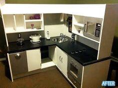 Still might be cheaper to buy one of those desks and remake it than to get a play kitchen that big...