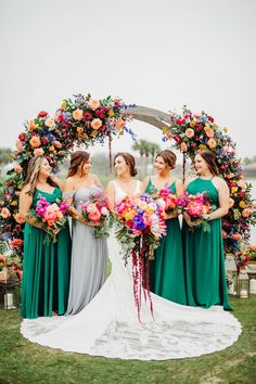 Wedding ceremony decor with bright flowers, round arch and green bridesmaid dresses | Colorful Summer Wedding - Bohemian Road Photography | 2021 Wedding Trends We Love: What is Trending Now and Will Continue to Trend for 2022 and Beyond - Belle The Magazine Long Table Wedding, Tent Wedding, Fall Wedding Dresses, Wedding Bouquets, Wedding Ceremony, 2017 Wedding, Elegant Wedding, Floral Wedding, Wedding Colors