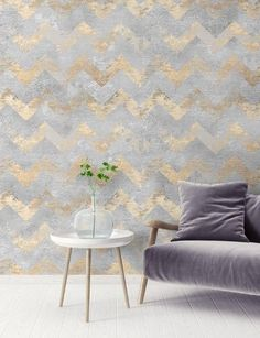 Metallic gold tones warm up modern wallpaper and add a touch of luxury to easily elevate any space. Interior Wallpaper, Gold Wallpaper, Modern Wallpaper, Golden Life, Gold Pattern, Neutral Colors, Chevron, Accent Chairs, Beige