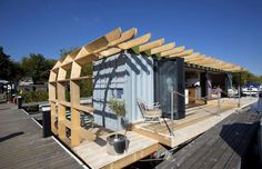 The brainchild of eco designer Max McMurdo, this hipster-worthy floating home cost just $62,000 (£50... - Max McMurdo