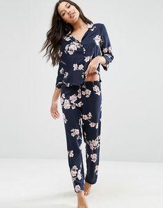 ASOS | ASOS Cherry Blossom Shirt & Long Leg Pajama Set
