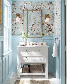 blue and white powder room, traditional home decor, white vanity, gold mirror, wallpaper