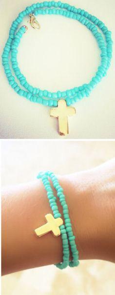 Turquoise Bead Cross Bracelet ♥