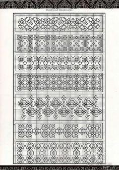 blackwork - several (horizontal) bookmarks or a sampler Blackwork Cross Stitch, Blackwork Embroidery, Cross Stitch Borders, Cross Stitch Charts, Cross Stitching, Cross Stitch Embroidery, Embroidery Patterns, Cross Stitch Patterns, Blackwork Patterns