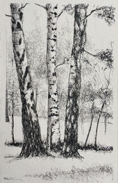 Coloring for adults - kleuren voor volwassenen стоит попробо Pencil Sketches Landscape, Landscape Drawings, Abstract Drawings, Tree Sketches, Art Drawings Sketches, Amazing Drawings, Realistic Drawings, Tree Drawings Pencil, Ink Pen Art
