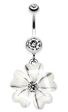 Shimmering Hearty Flower Belly Button Ring - 14 GA (1.6mm) - Clear - Sold…