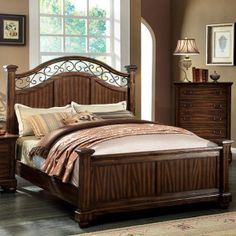 Feel the country vibe in this bedroom set! Coarse wood grain gives the bed a pleasant texture that is nice to the touch, while the metal accents on the headboard and mirror adds to its rustic beauty. Finished in antique dark oak.